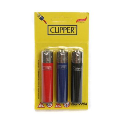12 x 3 Blister Pack Clipper Large Solid Lighters – CL116UKH
