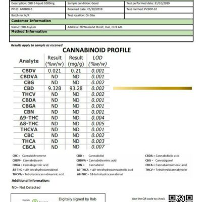 CBD Asylum 1000mg CBD E-liquid 10ml (70VG/30PG)