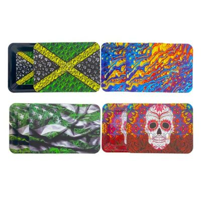Medium Mixed Design Magnetic Metal Rolling Trays with Lid