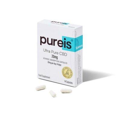 Pureis CBD 20mg CBD Ultra Pure CBD Advanced Absorption Capsules – 14 Caps