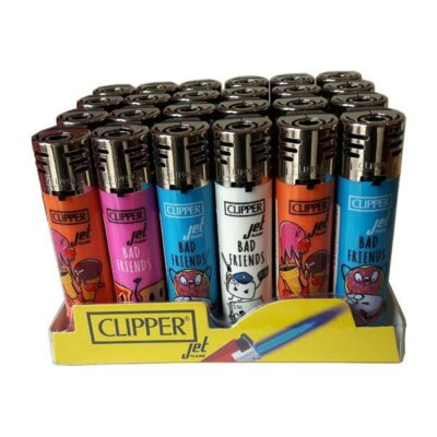 24 Clipper Electronic Refillable Printed Bad Friends Jet Flame Lighters – CKJ3B027UKH